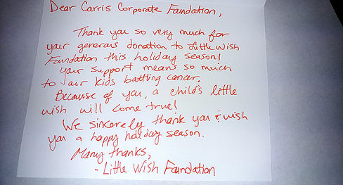 Carris Cares - Little Wish Foundation